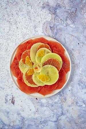 fruit carpaccio with citrus fruits
