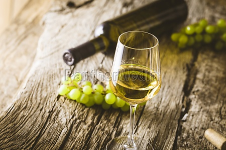 glass of white wine in wine