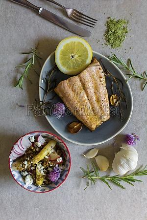salmon with lentil salad