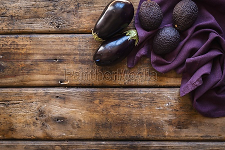 purple vegetable avocadoes and aubergines