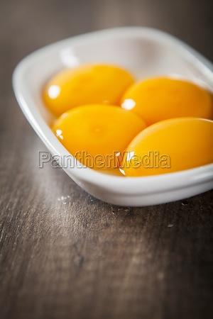 egg yolks in a ceramic bowl