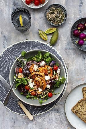 watercress salad with beetroot sweet potatoes