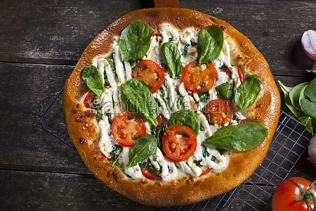 pizza with tomato mozzarella cheese and