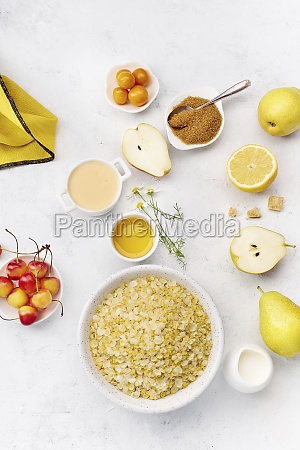 oat flakes sliced pears and yellow