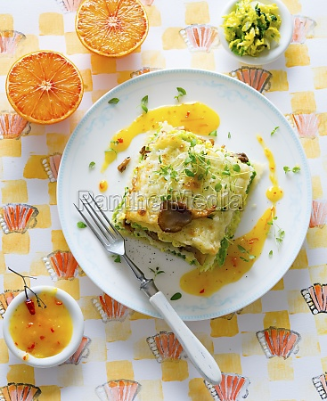 savoy cabbage lasagne with oyster mushrooms