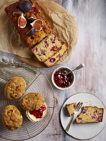 breakfast with scones and fig loaf