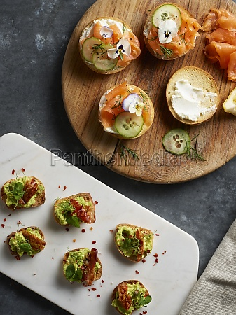 brunch canapes with salmon avodcado and