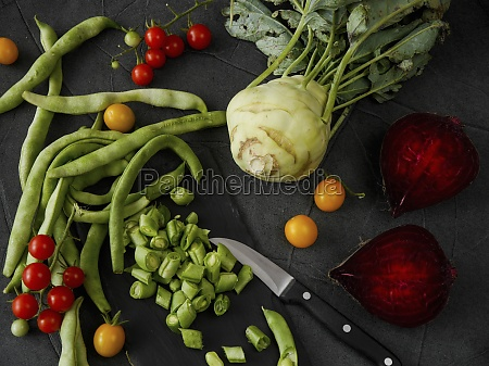 vegetable still life with beans tomatoes