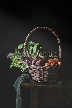 still life of wicker basket with