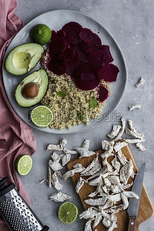 healthy dish with quinoa beetroot and