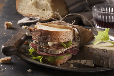 a salami and cheese sandwich