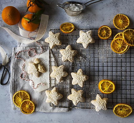 shortbread star biscuits with icing sugar