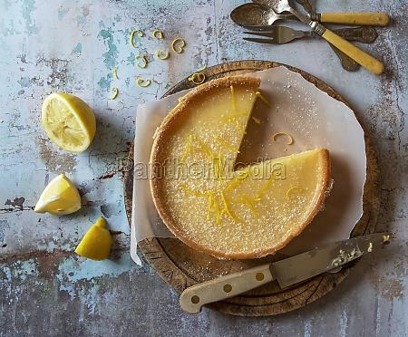 lemon tart with lemon rind gratings