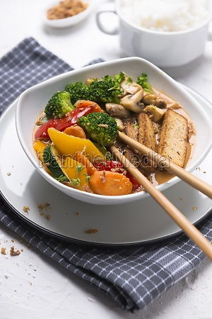 grilled tofu with vegetables in tandoori