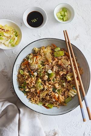 kimchi stir fry rice with chicken