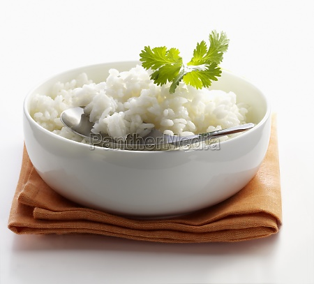 boiled rice in a small bowl