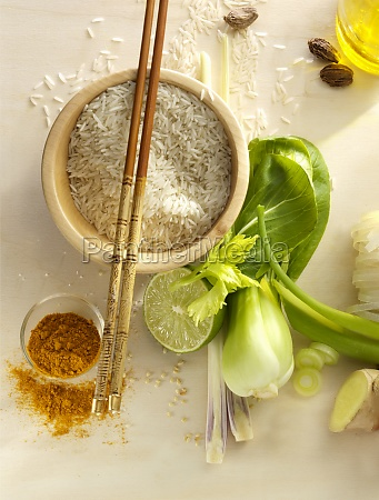 still life with rice in a