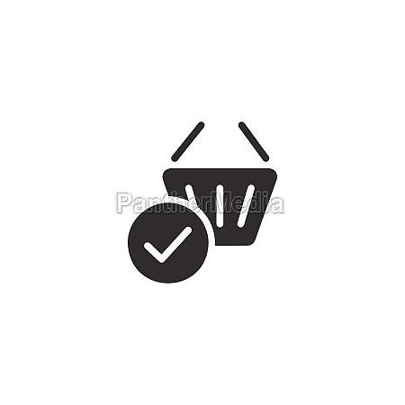 shopping basket check mark isolated icon