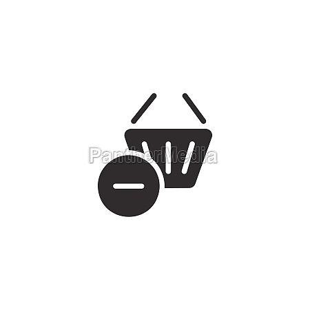 shopping basket delete product isolated icon