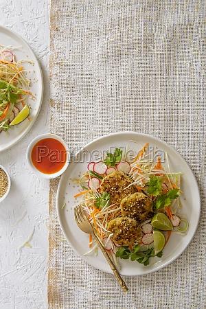 thai fish cakes with crunchy salad