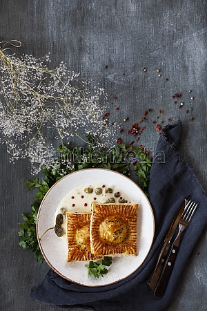 puff pastry with trout lemon sauce