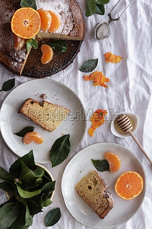 from above appetizing sweet cake and