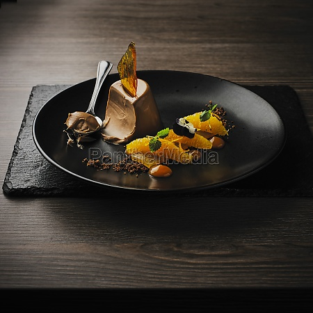 chocolate mousse with orange sauce