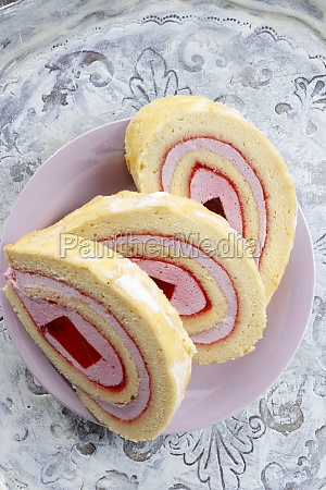 sponge roll roulade with jelly and