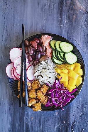 buddha bowl with basmati rice mango