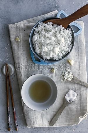 white rice in bowl sauce in