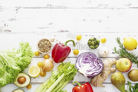 healthy raw organic vegetables herbs sprouts
