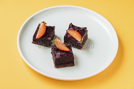 tasty chocolate cake with strawberry