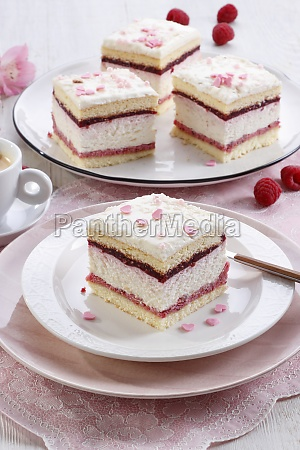 foam cake with raspberry mousse and