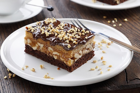 chocolate nut cake with chocolate coating