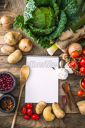 vegetables on wood with