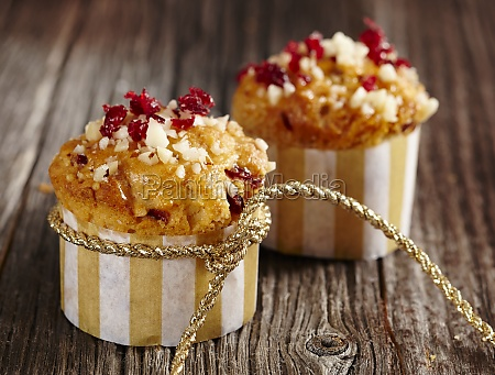 pecan nut and cranberry muffins in