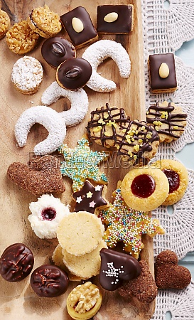 various christmas biscuits seen from above