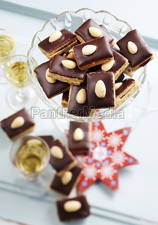 christmas cookies with chocolate and almonds