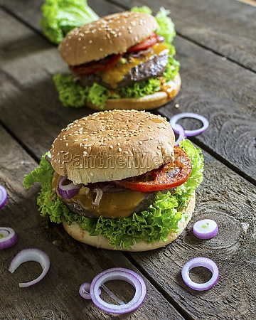 a cheeseburger with red onions