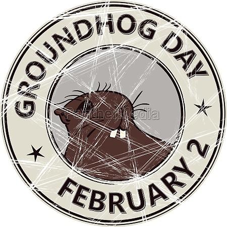 groundhog day stamp