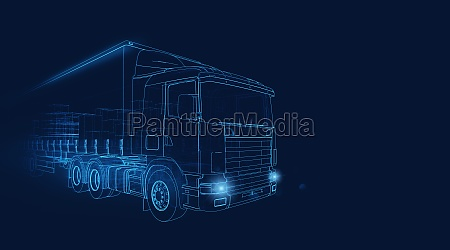 wireframe of a transporter truck moving