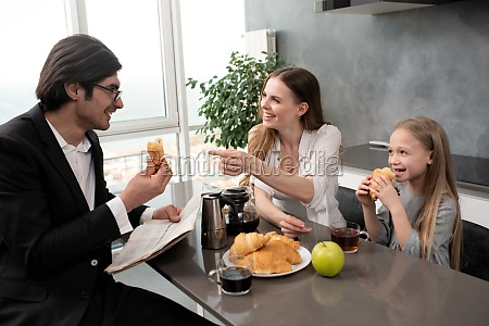 happy family have a breakfast at