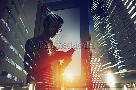 businessman in office connected on internet