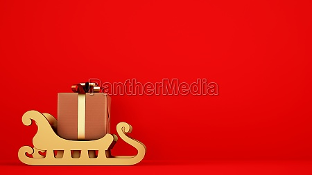 isolated christmas gift package on golden