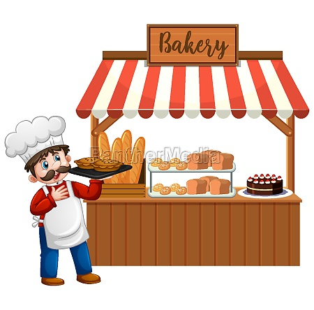 front of bakery shop with baker