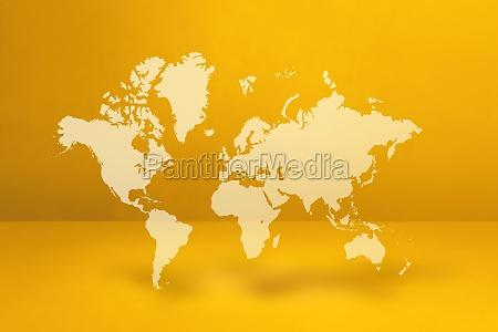 world map on yellow wall background