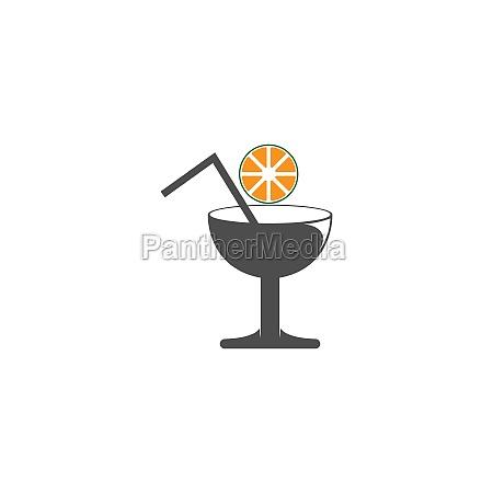 cocktail drink icon logo design vector