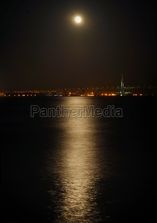 full moon of the moonlight reflected