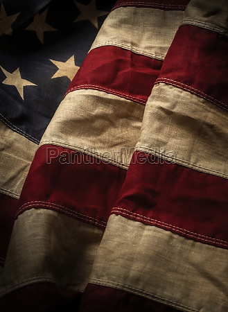 close up of old american flag