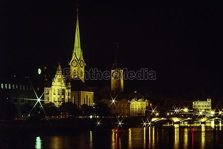 switzerland zurich old town buildings illuminated